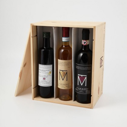 Chianti Classico 2014 (75 cl) - Chianti Classico Sweet Wine 2014 (50cl) and Extra Virgin Olive Oil (50 cl) - 3 bottles